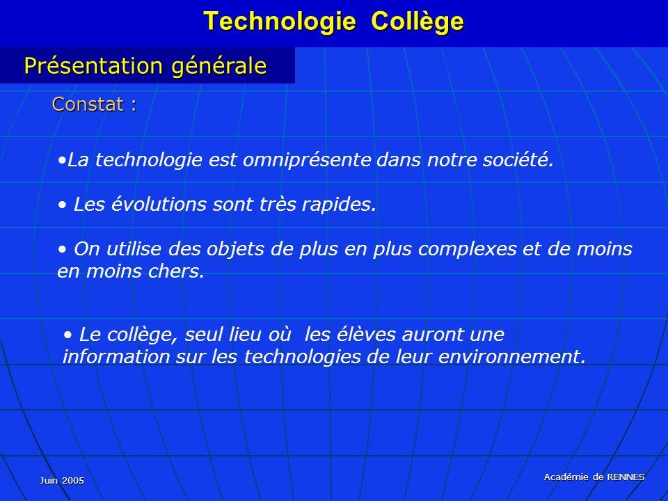 Juin 2005 Académie de RENNES La technologie est omniprésente dans notre société. Les évolutions sont très rapides. On utilise des objets de plus en pl