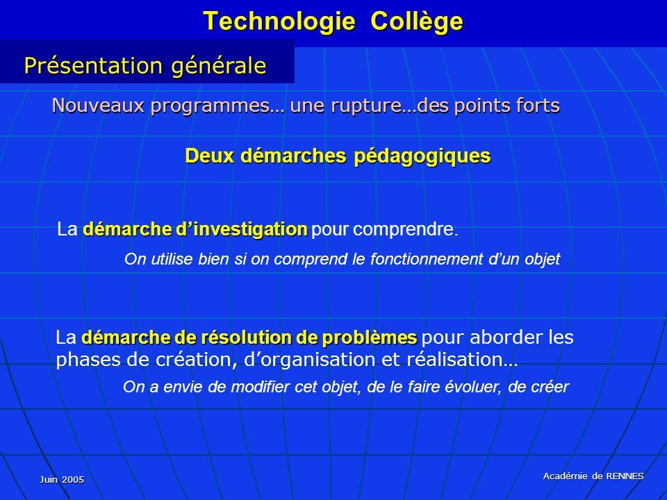 Juin 2005 Académie de RENNES démarche dinvestigation La démarche dinvestigation pour comprendre. On utilise bien si on comprend le fonctionnement dun