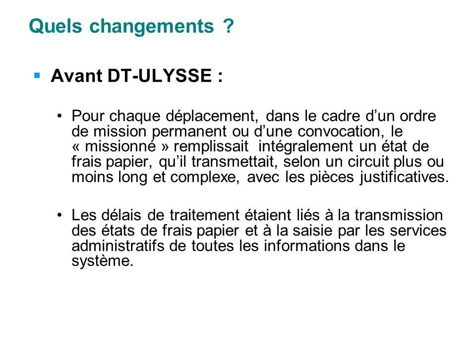 Quels changements ? Avant DT-ULYSSE : Pour chaque déplacement, dans le cadre dun ordre de mission permanent ou dune convocation, le « missionné » remp