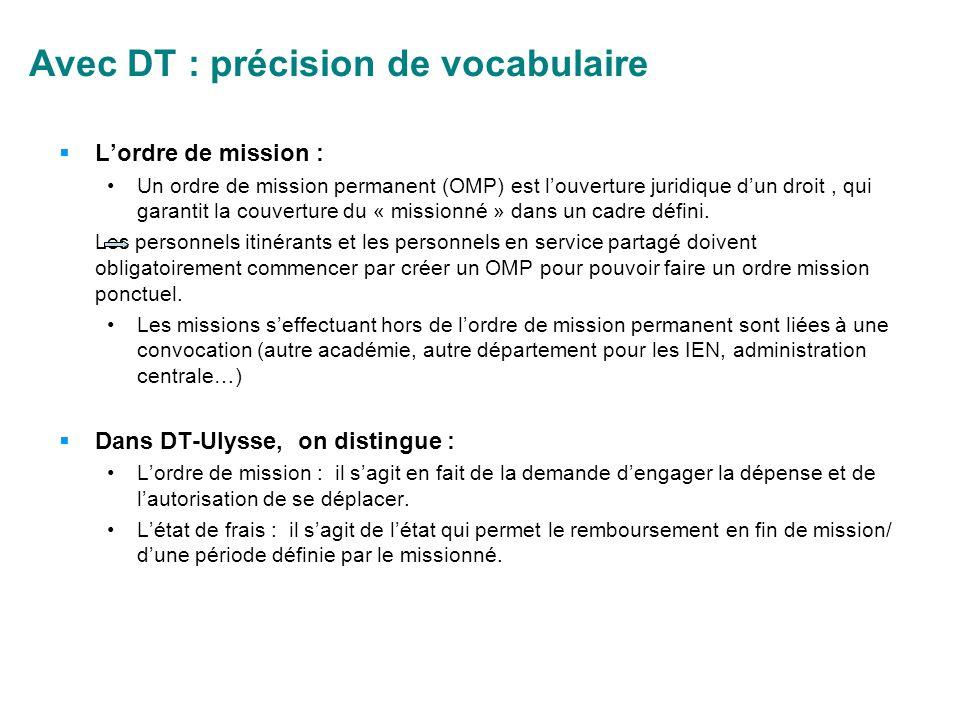 Avec DT : précision de vocabulaire Lordre de mission : Un ordre de mission permanent (OMP) est louverture juridique dun droit, qui garantit la couvert