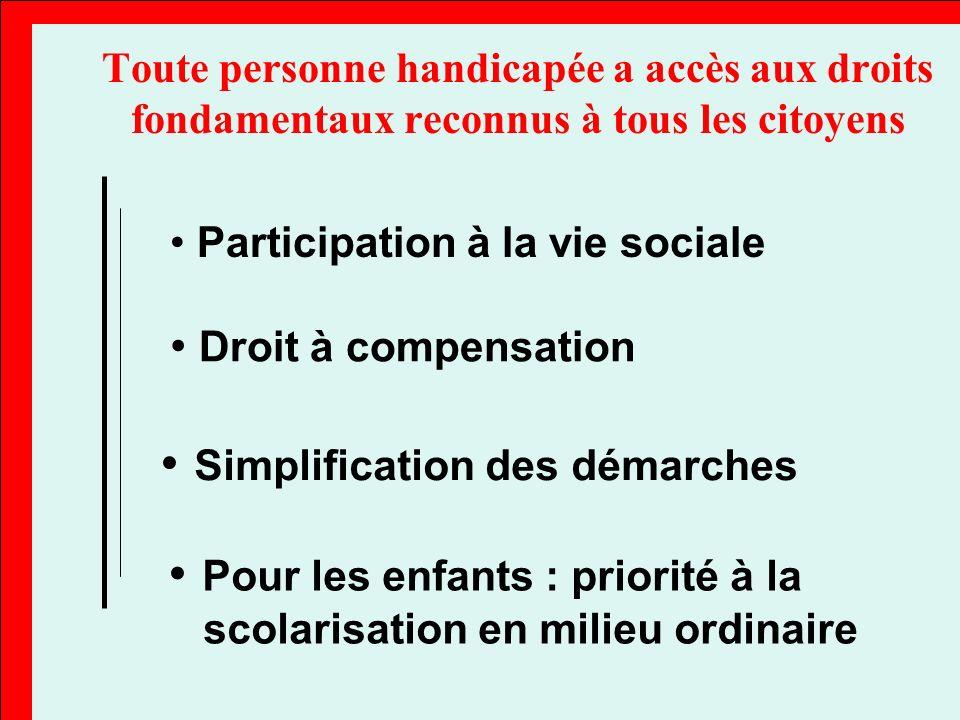 La loi garantit aux personnes handicapées le libre choix de leur projet de vie grâce au droit de compensation des conséquences de leur handicap et à un revenu d existence favorisant une vie autonome digne.