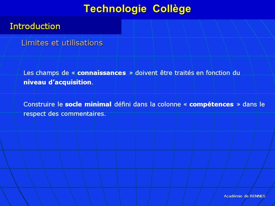 Académie de RENNES Les champs de « connaissances » doivent être traités en fonction du niveau dacquisition. Construire le socle minimal défini dans la