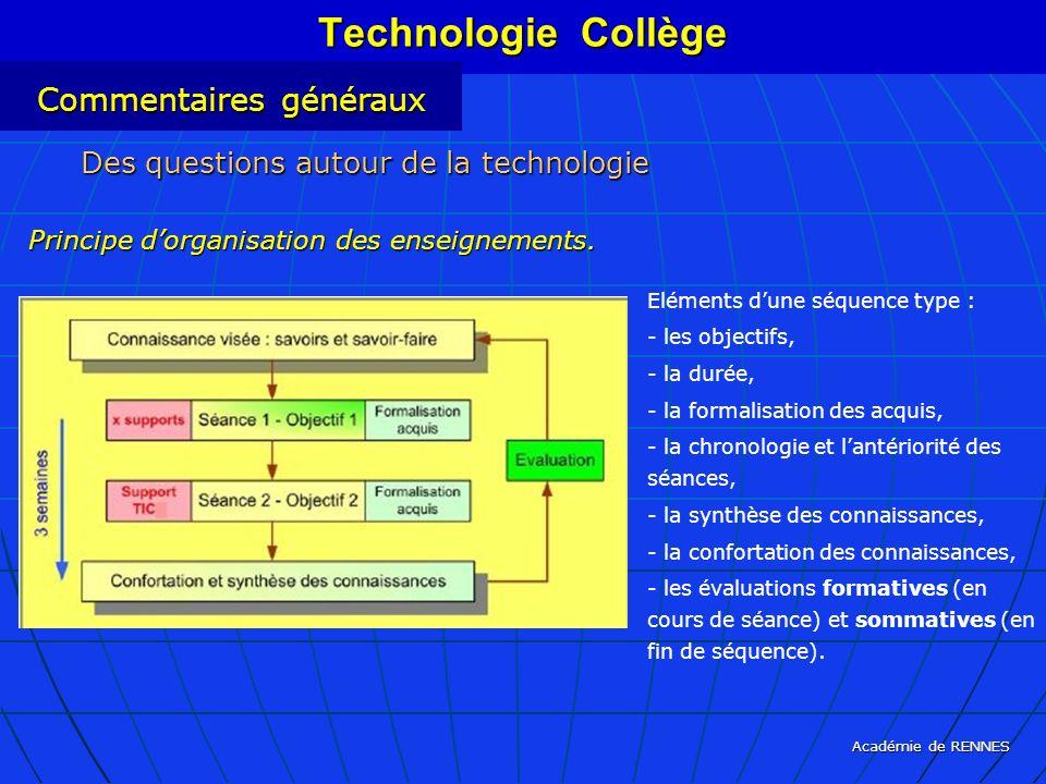 Académie de RENNES Eléments dune séquence type : - les objectifs, - la durée, - la formalisation des acquis, - la chronologie et lantériorité des séan