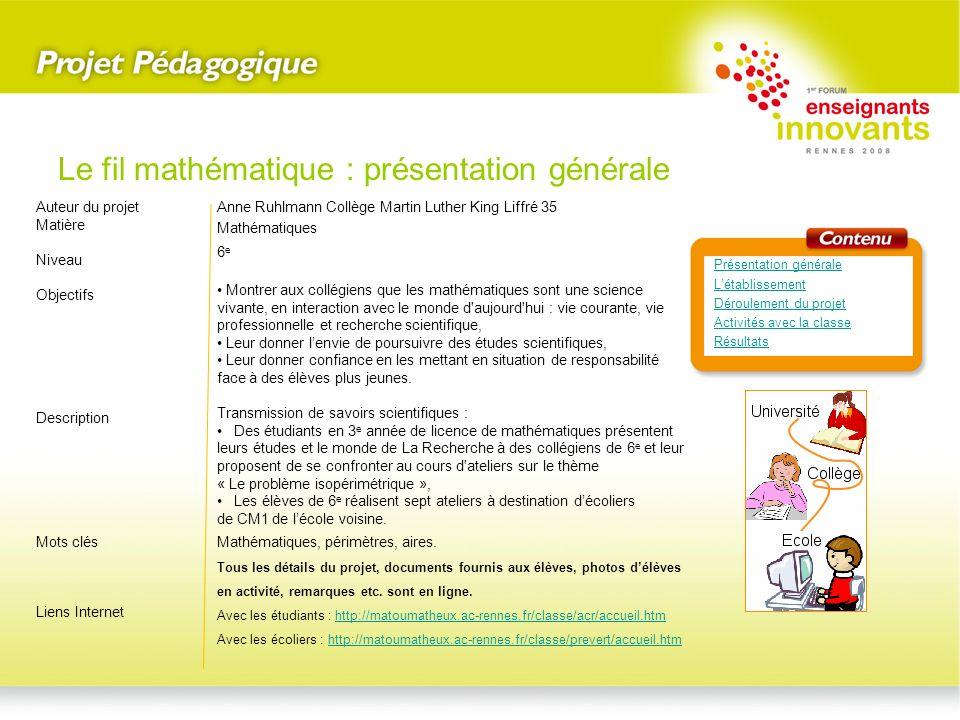 Créatrice du site Le Matou matheux depuis 2004.Le Matou matheux Le fil mathématique : létablissement Présentation générale Létablissement Déroulement du projet Activités avec la classe Résultats Enseignante de mathématiques dans ce collège depuis 2000.