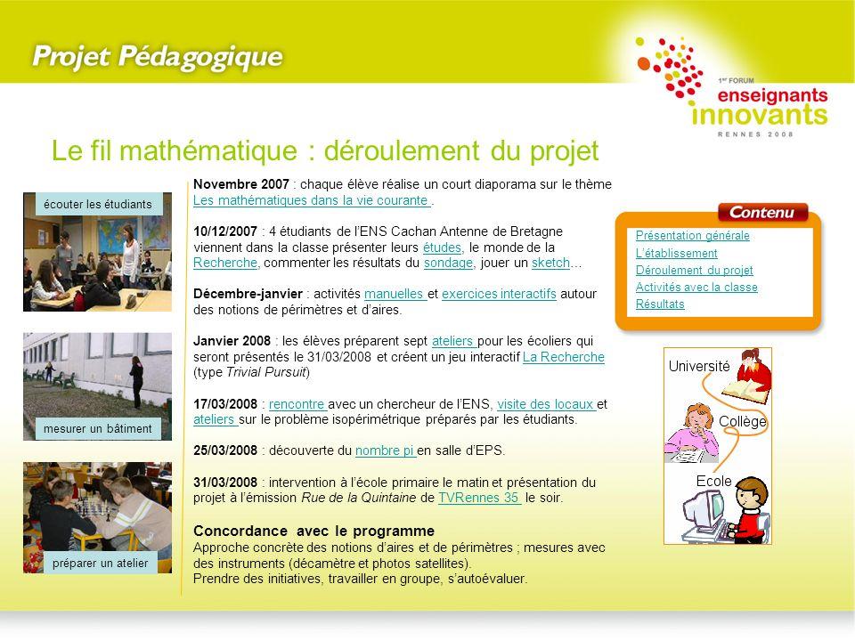 Novembre 2007 : chaque élève réalise un court diaporama sur le thème Les mathématiques dans la vie courante. Les mathématiques dans la vie courante 10