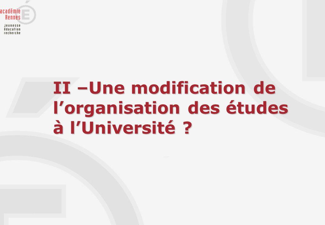 II –Une modification de lorganisation des études à lUniversité ?