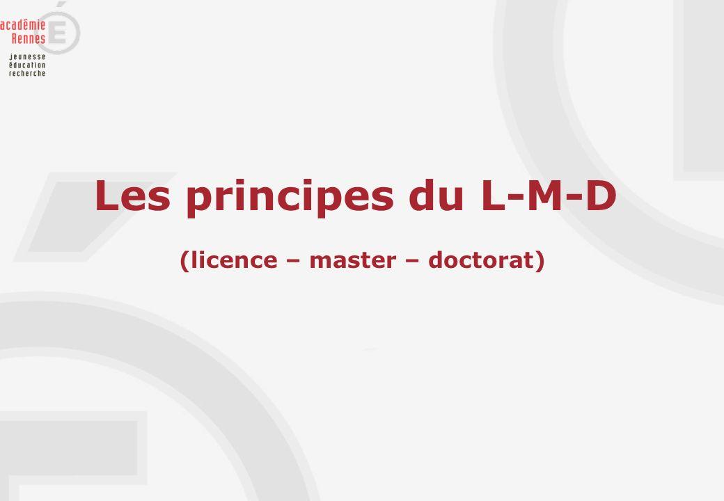 Les principes du L-M-D (licence – master – doctorat)