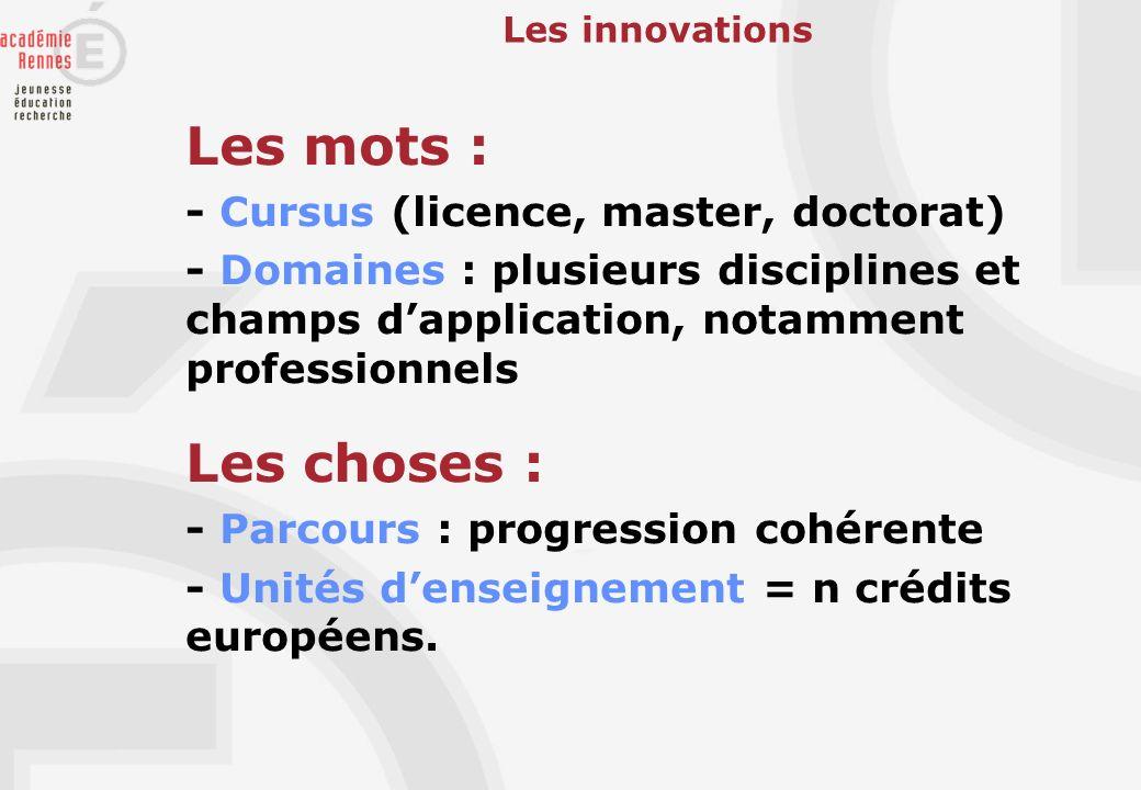 Les innovations Les mots : - Cursus (licence, master, doctorat) - Domaines : plusieurs disciplines et champs dapplication, notamment professionnels Le