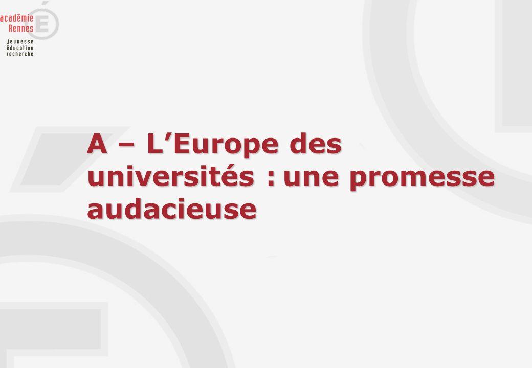 A – LEurope des universités : une promesse audacieuse