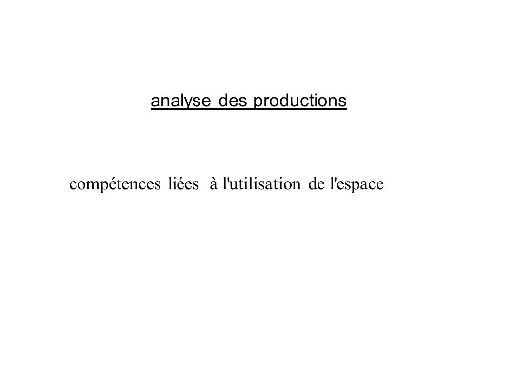 analyse des productions compétences liées à l'utilisation de l'espace