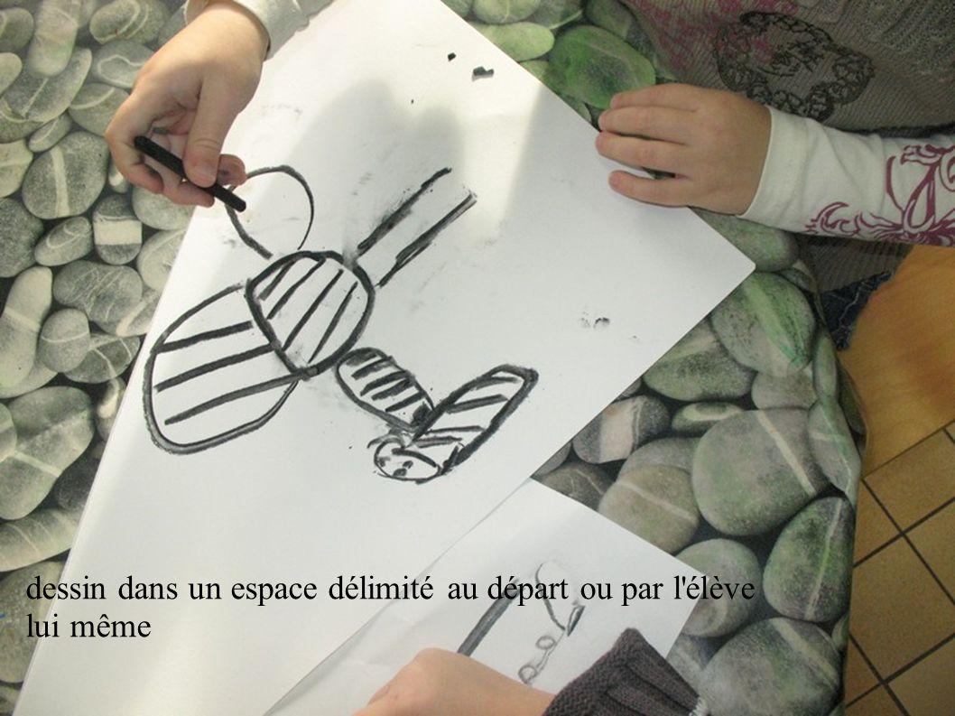 dessin dans un espace délimité au départ ou par l'élève lui même