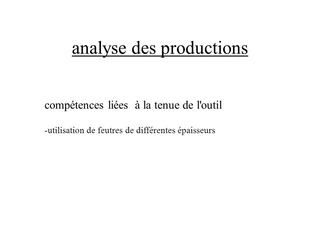 analyse des productions compétences liées à la tenue de l'outil -utilisation de feutres de différentes épaisseurs