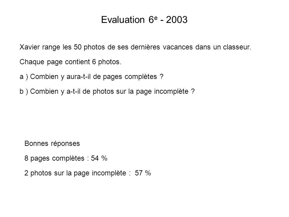 Evaluation 6 e - 2003 Xavier range les 50 photos de ses dernières vacances dans un classeur. Chaque page contient 6 photos. a ) Combien y aura-t-il de