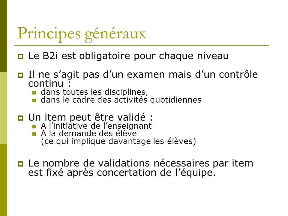 Principes généraux Le B2i est obligatoire pour chaque niveau Il ne sagit pas dun examen mais dun contrôle continu : dans toutes les disciplines, dans