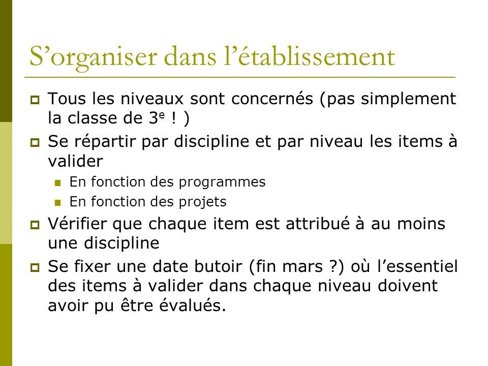 Sorganiser dans létablissement Tous les niveaux sont concernés (pas simplement la classe de 3 e ! ) Se répartir par discipline et par niveau les items