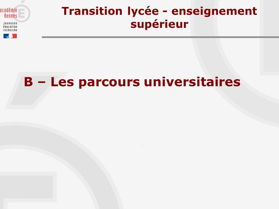 B – Les parcours universitaires Transition lycée - enseignement supérieur