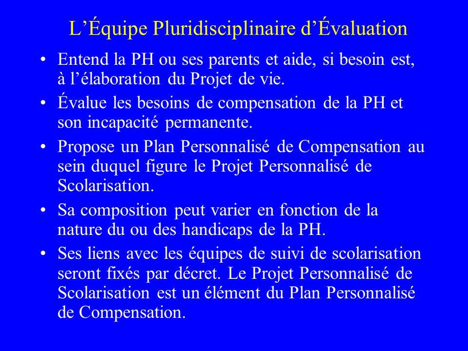 2 composantes LEquipe Pluridisciplinaire dEvaluation chargée délaborer et de proposer le Plan de Compensation.