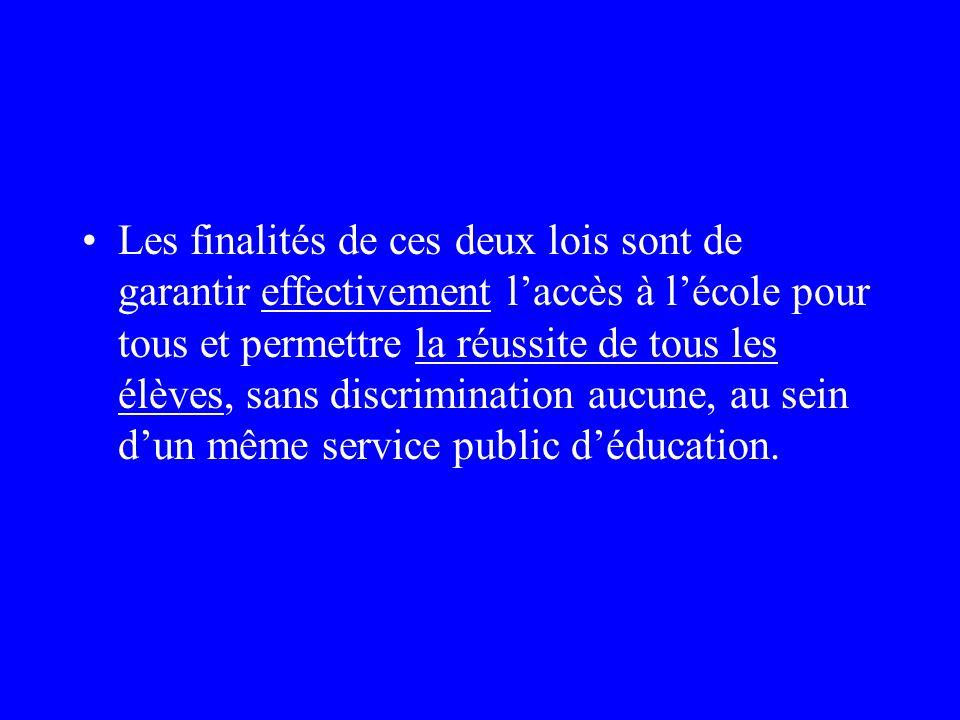 Conséquences des lois sur lavenir de lécole (23/04/05) et sur légalité des chances, la participation et la citoyenneté des personnes handicapées (11/0
