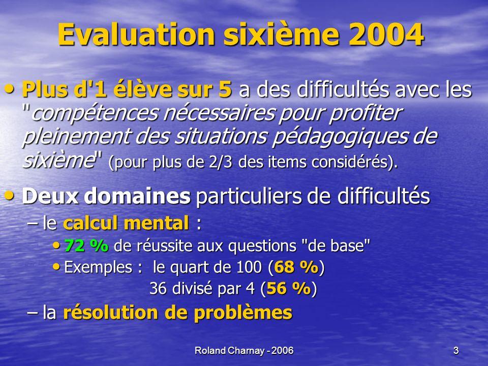 Roland Charnay - 2006 14 Un cadre pour travailler sur l origine des difficultés
