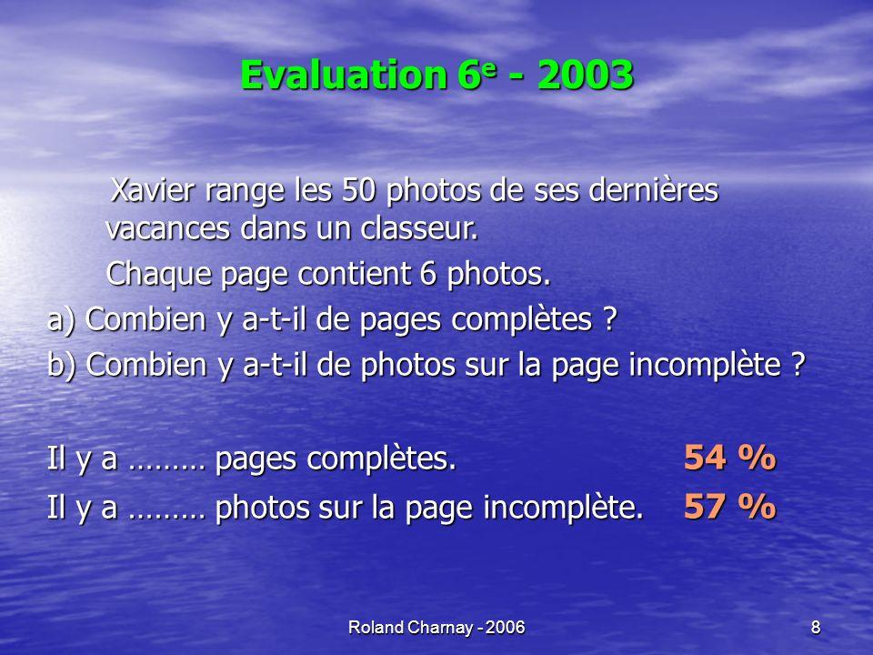 Roland Charnay - 20069 Procédures possibles Division par 6 Division par 6 Division (stabilisée au CM1) Division (stabilisée au CM1) Encadrement par deux multiples de 6 Encadrement par deux multiples de 6 Table de multiplication (CE2) Table de multiplication (CE2) Addition de 6 en 6 Addition de 6 en 6 Addition (CE1) Addition (CE1) Schématisation des pages et des photos Schématisation des pages et des photos Dénombrement (CP) Dénombrement (CP)