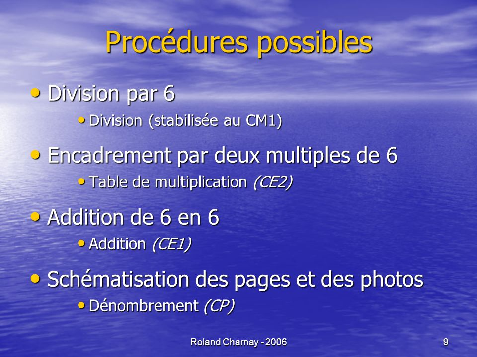 Roland Charnay - 20069 Procédures possibles Division par 6 Division par 6 Division (stabilisée au CM1) Division (stabilisée au CM1) Encadrement par de