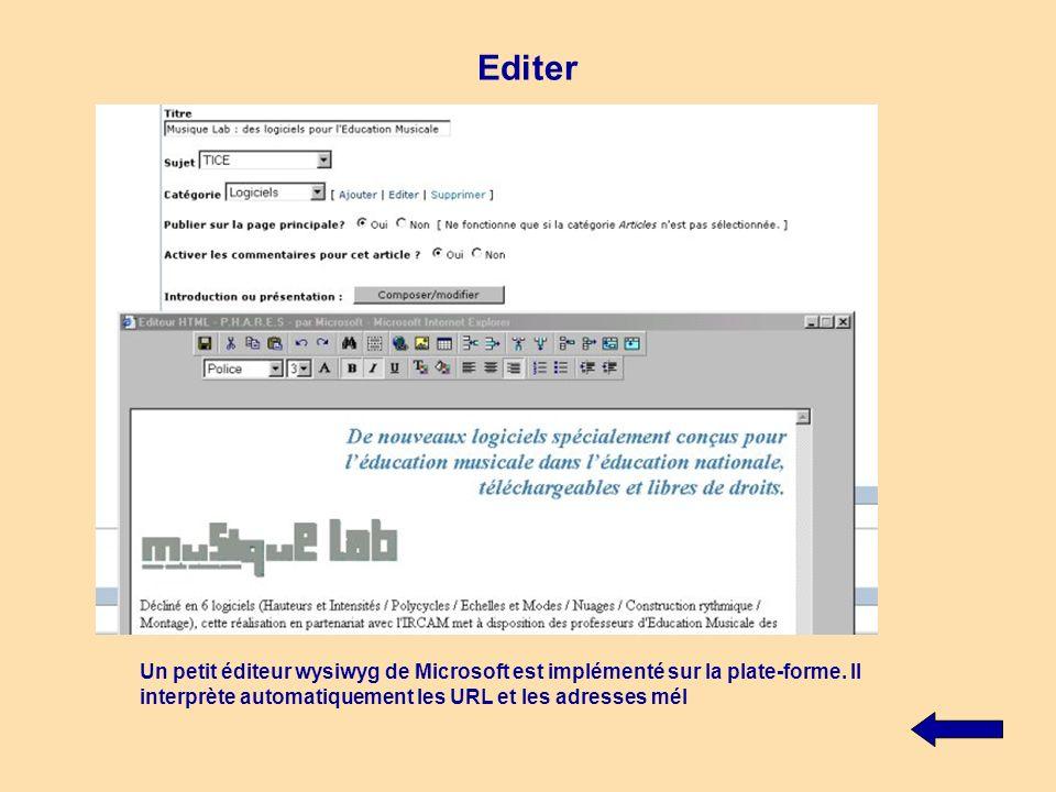 Editer Un petit éditeur wysiwyg de Microsoft est implémenté sur la plate-forme. Il interprète automatiquement les URL et les adresses mél