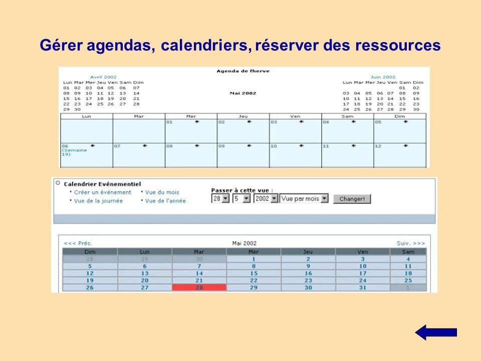Gérer agendas, calendriers, réserver des ressources