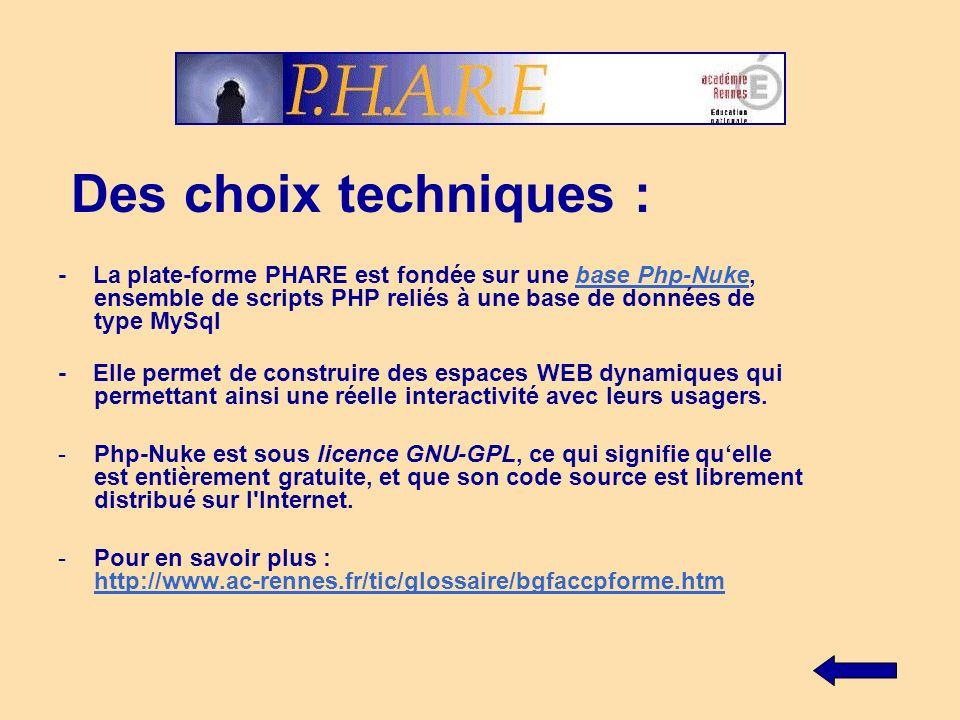 Des choix techniques : - La plate-forme PHARE est fondée sur une base Php-Nuke, ensemble de scripts PHP reliés à une base de données de type MySqlbase