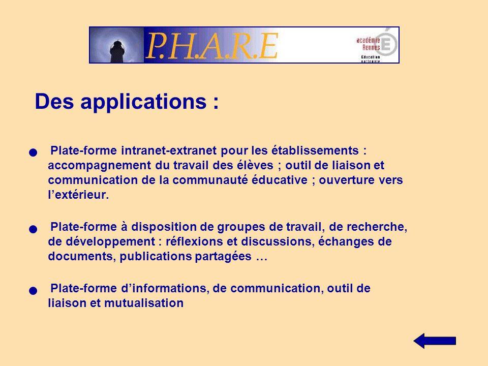 Des applications : - Plate-forme intranet-extranet pour les établissements : accompagnement du travail des élèves ; outil de liaison et communication