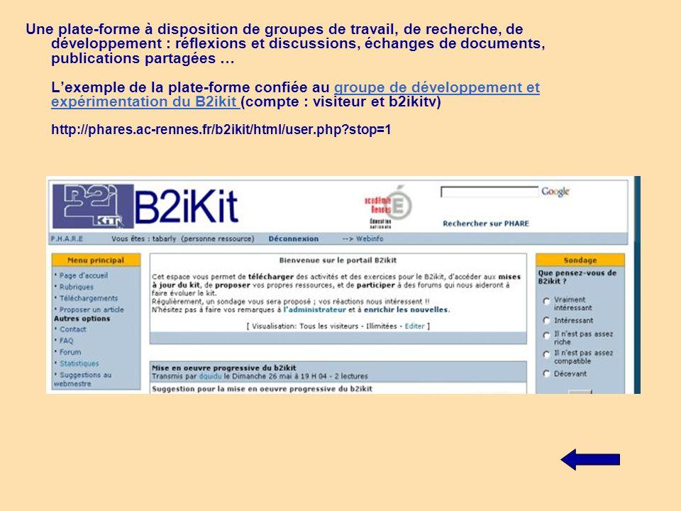Une plate-forme à disposition de groupes de travail, de recherche, de développement : réflexions et discussions, échanges de documents, publications p
