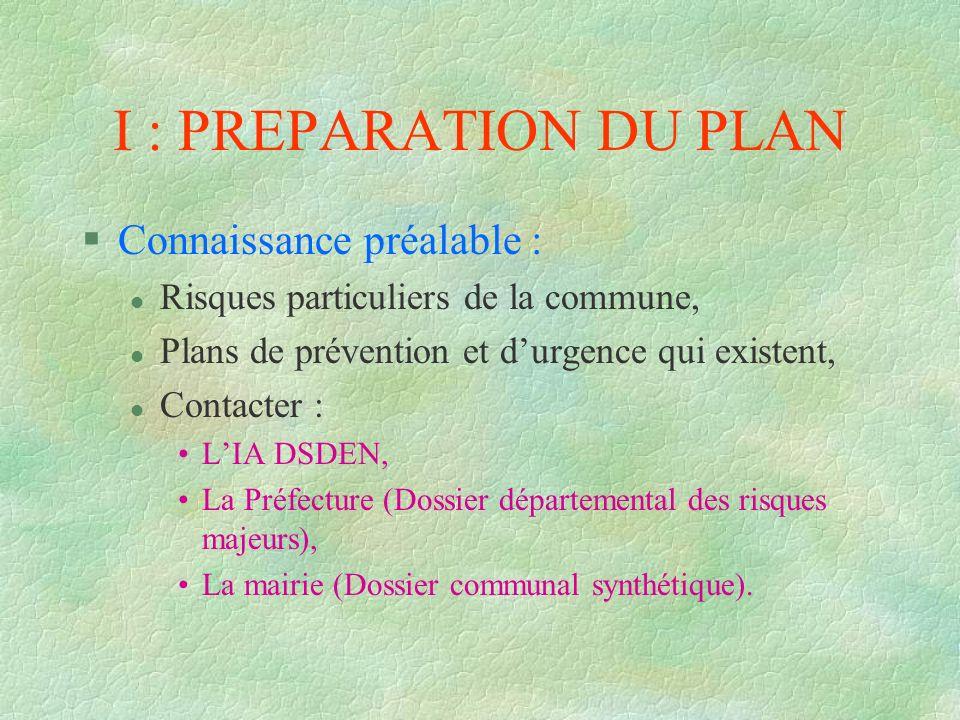 I : PREPARATION DU PLAN §Connaissance préalable : l Risques particuliers de la commune, l Plans de prévention et durgence qui existent, l Contacter :