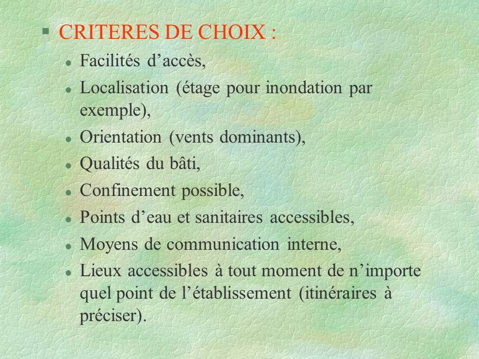 §CRITERES DE CHOIX : l Facilités daccès, l Localisation (étage pour inondation par exemple), l Orientation (vents dominants), l Qualités du bâti, l Co