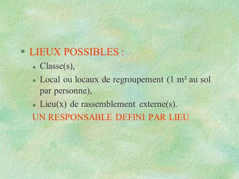 §LIEUX POSSIBLES : l Classe(s), l Local ou locaux de regroupement (1 m² au sol par personne), l Lieu(x) de rassemblement externe(s). UN RESPONSABLE DE