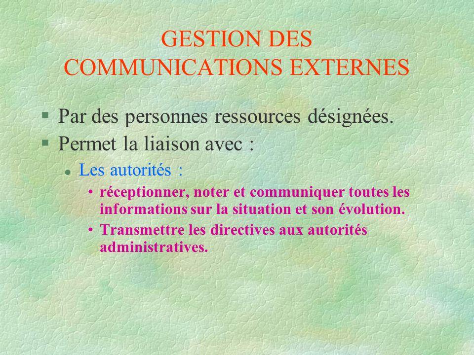 GESTION DES COMMUNICATIONS EXTERNES §Par des personnes ressources désignées. §Permet la liaison avec : l Les autorités : réceptionner, noter et commun