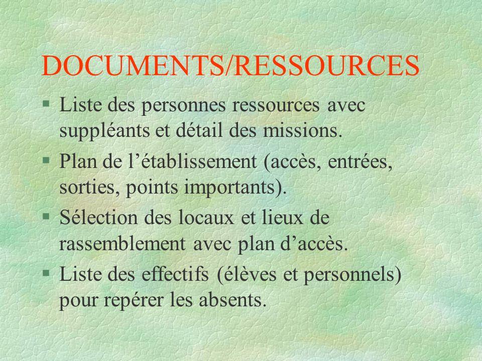 DOCUMENTS/RESSOURCES §Liste des personnes ressources avec suppléants et détail des missions. §Plan de létablissement (accès, entrées, sorties, points
