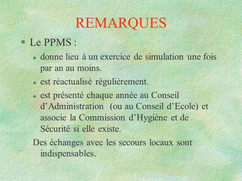 REMARQUES §Le PPMS : l donne lieu à un exercice de simulation une fois par an au moins. l est réactualisé régulièrement. l est présenté chaque année a