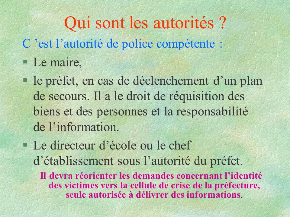 Qui sont les autorités ? C est lautorité de police compétente : §Le maire, §le préfet, en cas de déclenchement dun plan de secours. Il a le droit de r