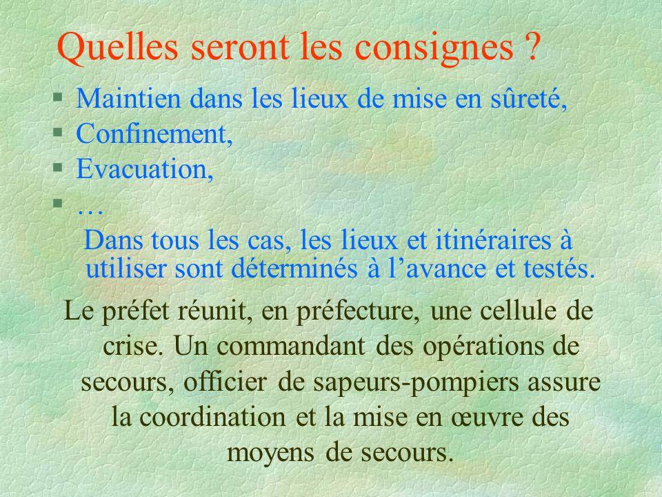 Quelles seront les consignes ? §Maintien dans les lieux de mise en sûreté, §Confinement, §Evacuation, §…§… Dans tous les cas, les lieux et itinéraires