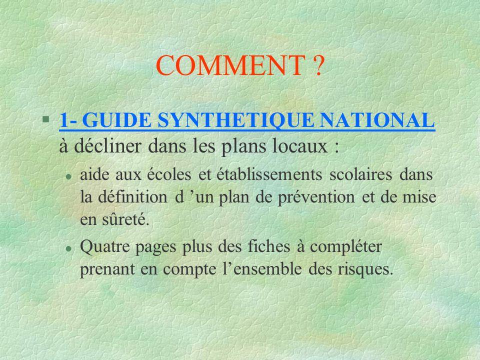 COMMENT ? §1- GUIDE SYNTHETIQUE NATIONAL à décliner dans les plans locaux : l aide aux écoles et établissements scolaires dans la définition d un plan