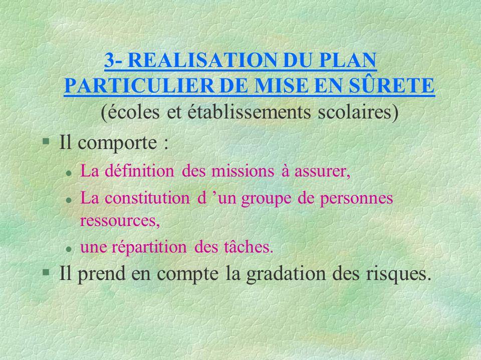 3- REALISATION DU PLAN PARTICULIER DE MISE EN SÛRETE (écoles et établissements scolaires) §Il comporte : l La définition des missions à assurer, l La