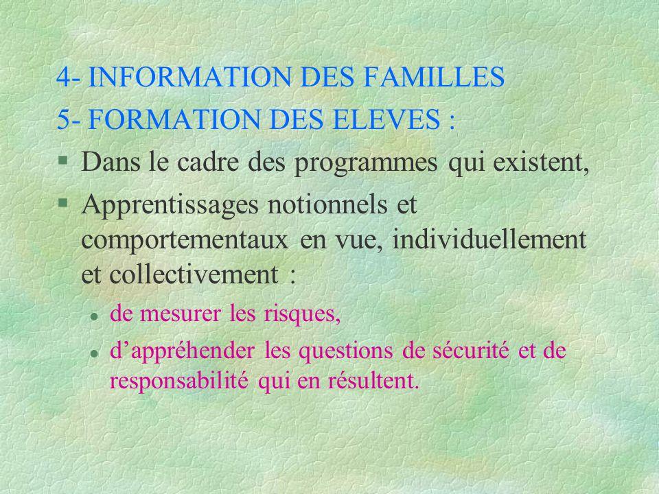 4- INFORMATION DES FAMILLES 5- FORMATION DES ELEVES : §Dans le cadre des programmes qui existent, §Apprentissages notionnels et comportementaux en vue