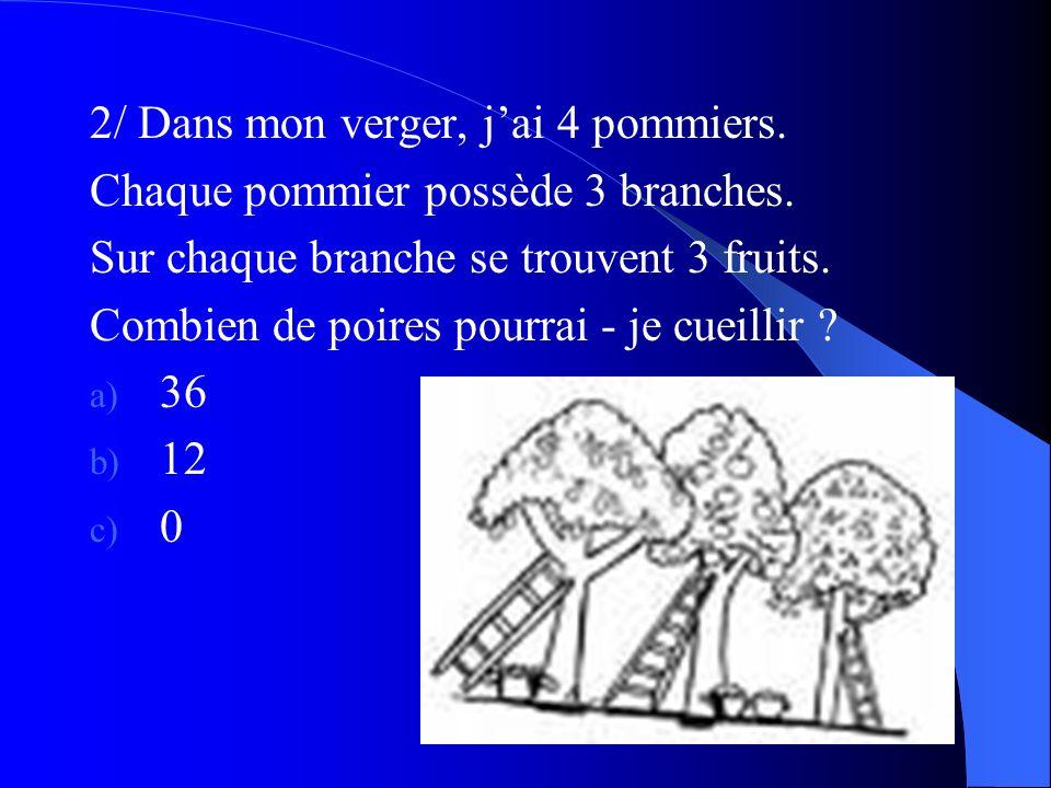 2/ Dans mon verger, jai 4 pommiers. Chaque pommier possède 3 branches. Sur chaque branche se trouvent 3 fruits. Combien de poires pourrai - je cueilli