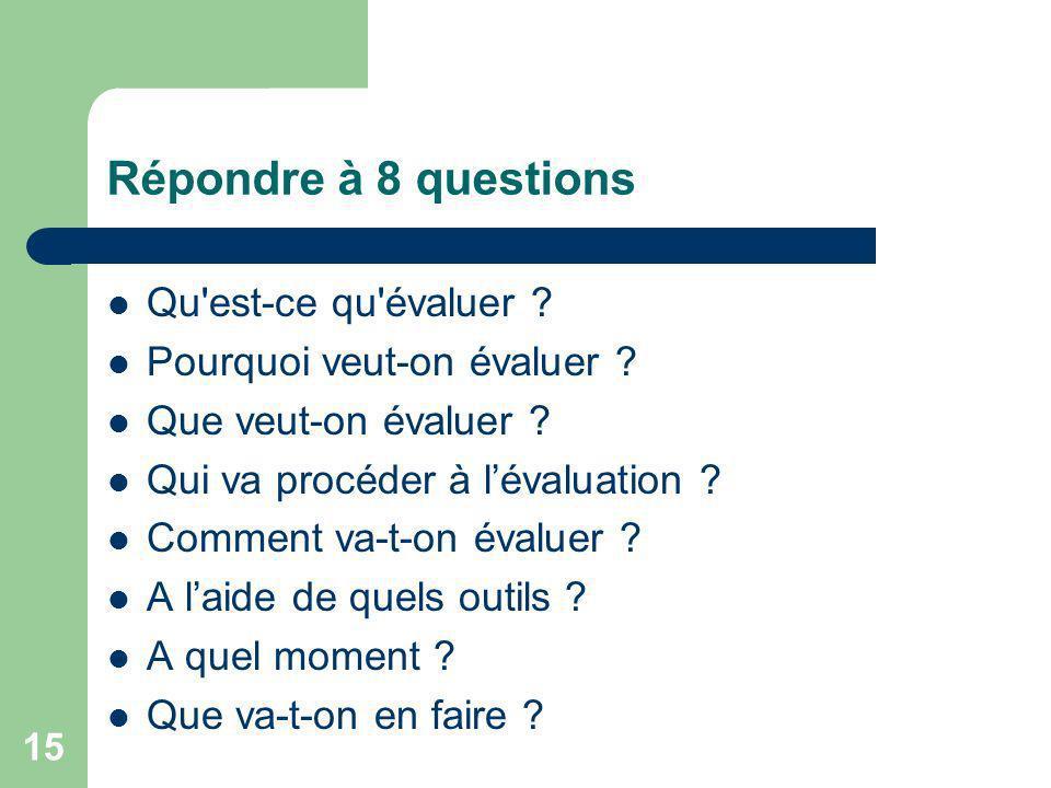 15 Répondre à 8 questions Qu'est-ce qu'évaluer ? Pourquoi veut-on évaluer ? Que veut-on évaluer ? Qui va procéder à lévaluation ? Comment va-t-on éval