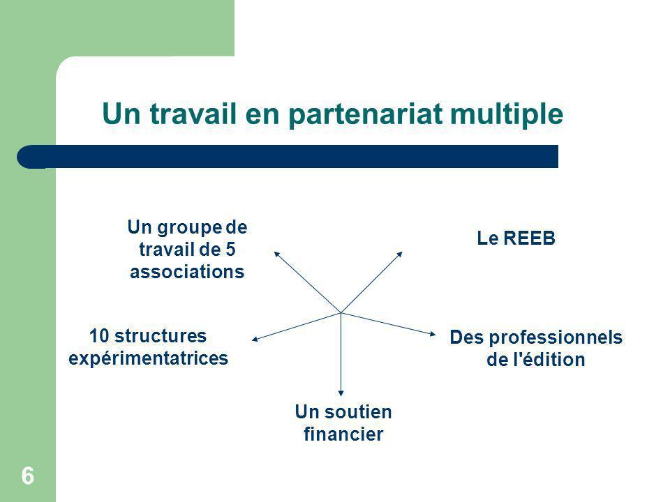 6 Un travail en partenariat multiple Un groupe de travail de 5 associations Le REEB 10 structures expérimentatrices Un soutien financier Des professio