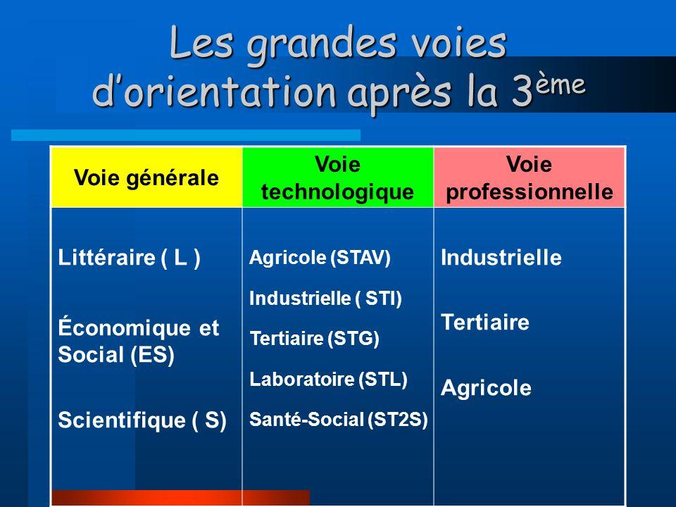 Les grandes voies dorientation après la 3 ème Voie générale Voie technologique Voie professionnelle Littéraire ( L ) Économique et Social (ES) Scientifique ( S) Agricole (STAV) Industrielle ( STI) Tertiaire (STG) Laboratoire (STL) Santé-Social (ST2S) Industrielle Tertiaire Agricole