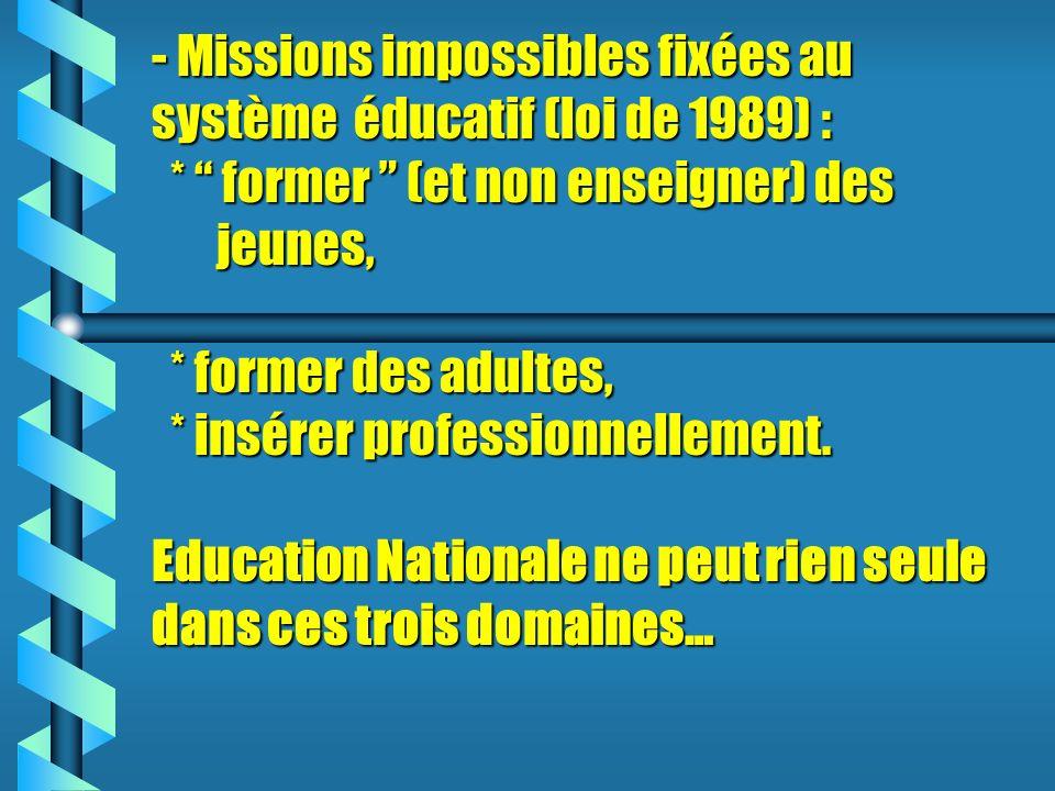 - Missions impossibles fixées au système éducatif (loi de 1989) : * former (et non enseigner) des jeunes, * former des adultes, * insérer professionnellement.