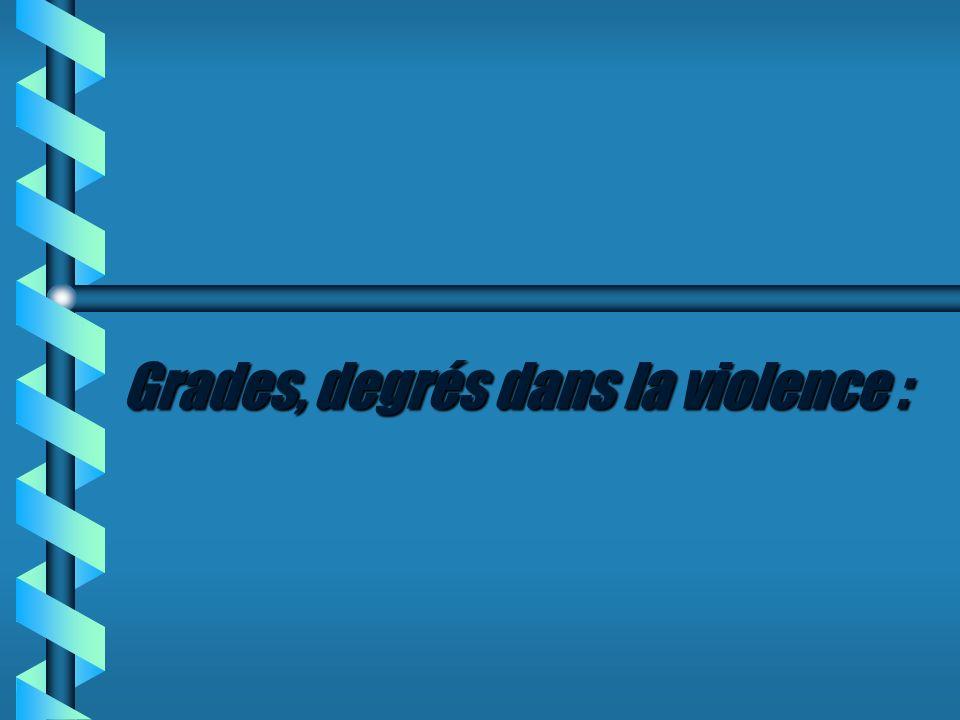Grades, degrés dans la violence :
