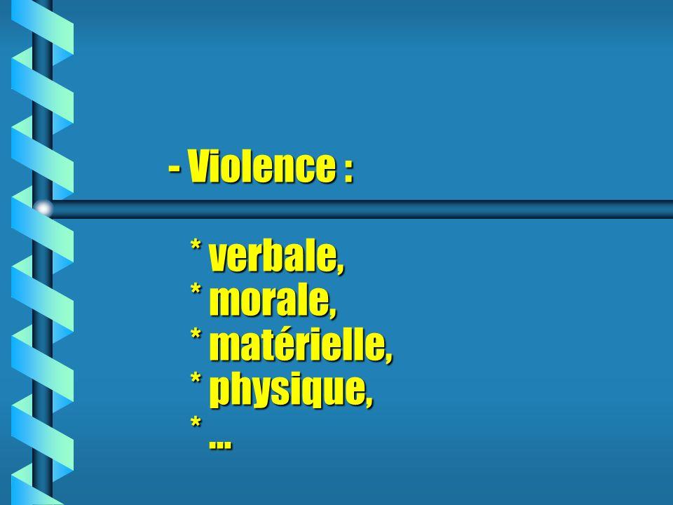 - Violence : * verbale, * morale, * matérielle, * physique, * …