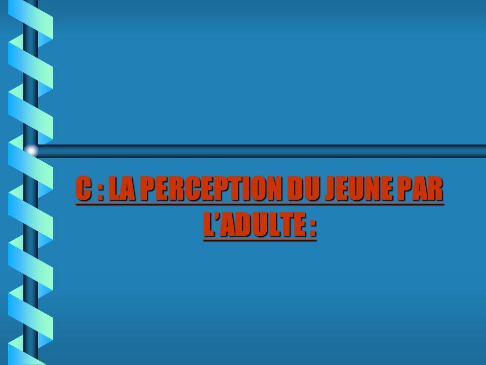 C : LA PERCEPTION DU JEUNE PAR LADULTE :