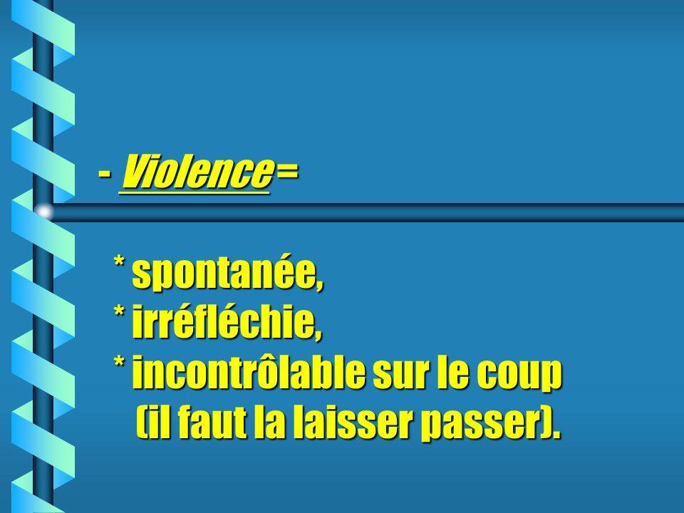 - Violence Violence = * spontanée, * irréfléchie, * incontrôlable sur le coup (il faut la laisser passer).